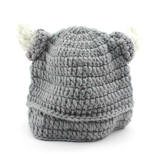 Gray Color Bull Horn Design Cute Baby Kids Infant Crochet Hat Knit Newborn  Beanie Photograph Pro 7ea23def9f3