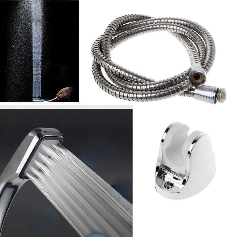 300 Silver Holes Shower Head Water Saving High Pressurized Bathroom Handheld Shower Set  Handheld