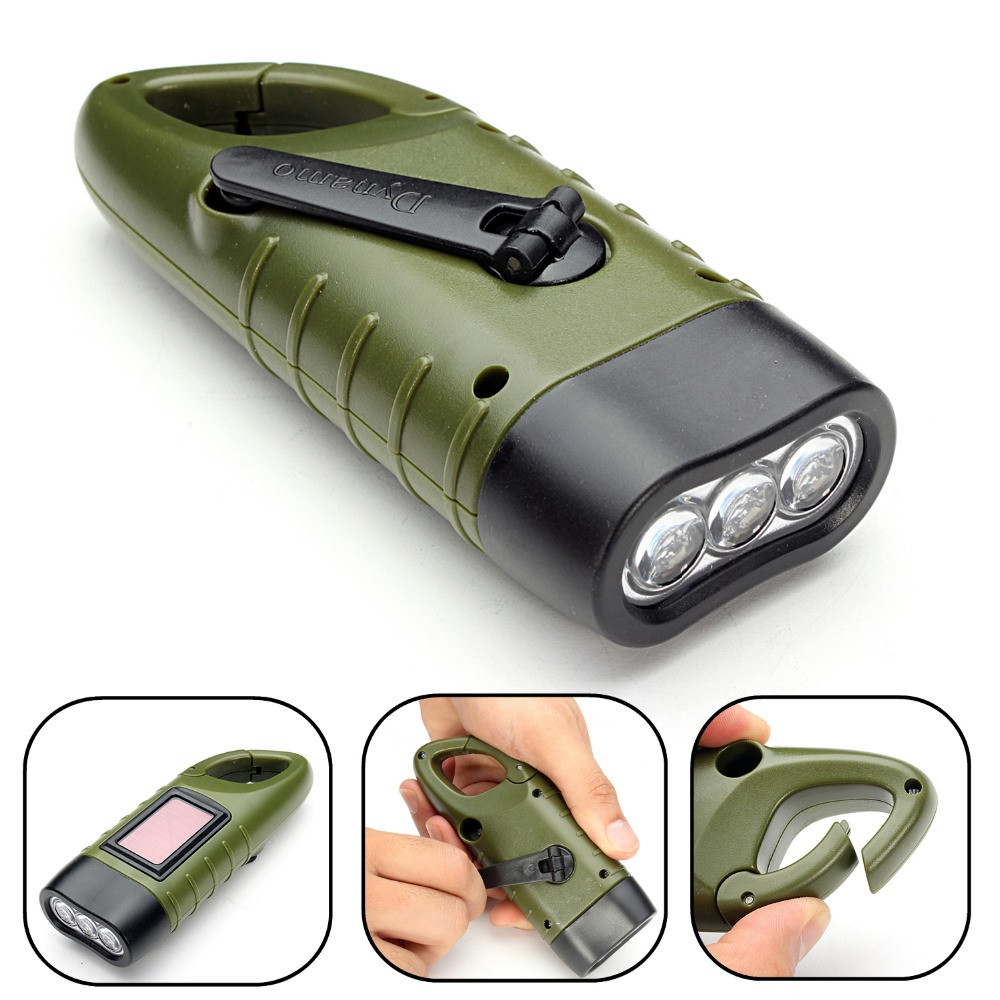 Mini Solar Flashlight Emergency Hand Crank Dynamo Rechargeable LED Light Lamp Charging Powerful Torch For Outdoor Camping