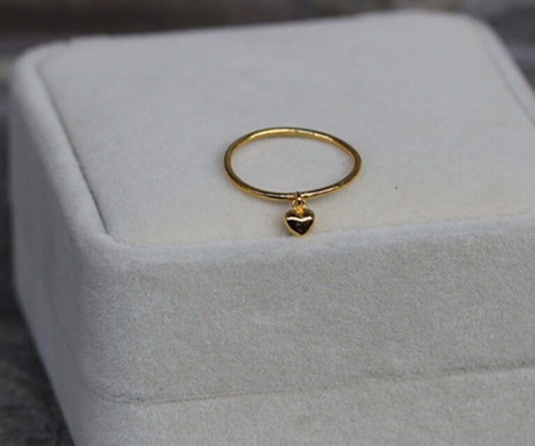 Pure 999 Solid 24K Yellow Gold Ring Lucky Smooth Heart Ring hot sale pure 999 24k yellow gold women s lucky o chain star ring us 7