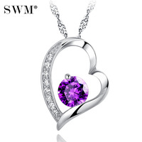 Women Choker Chain Silver Necklaces Luxury Clear Crystal Necklace Crystals Love Heart Pendant Jewelry Gift for Girl Friend Lover