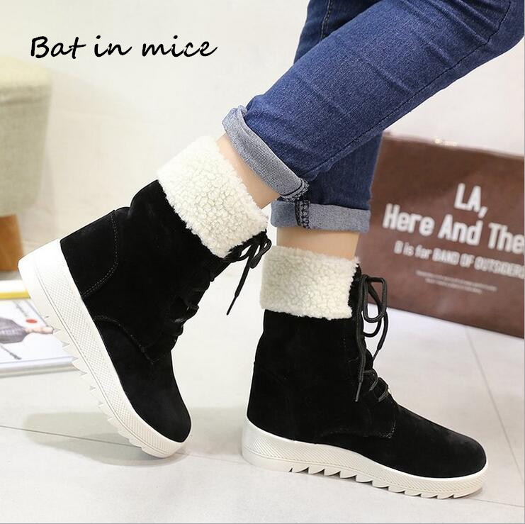 fashion Winter women casual Warm Plush Ankle Snow Boots shoes women New Round Toe Lace-Up Flats boots botas woman Mujer W368 superstar women s snow boots add plush fashion warm shoes tube in warm winter mujer shoes flat ankle botas woman zapatos 444
