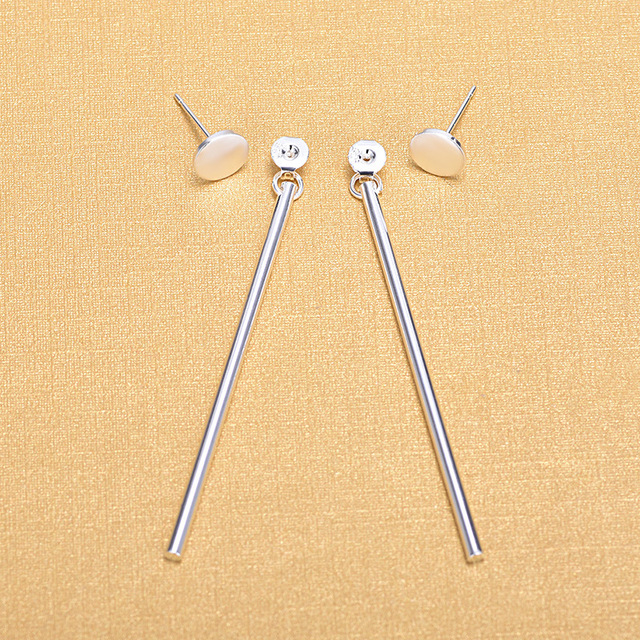 Fashion Round Women 925 Sterling Silver Long Bar Stud Earrings Jewelry Gifts 2018