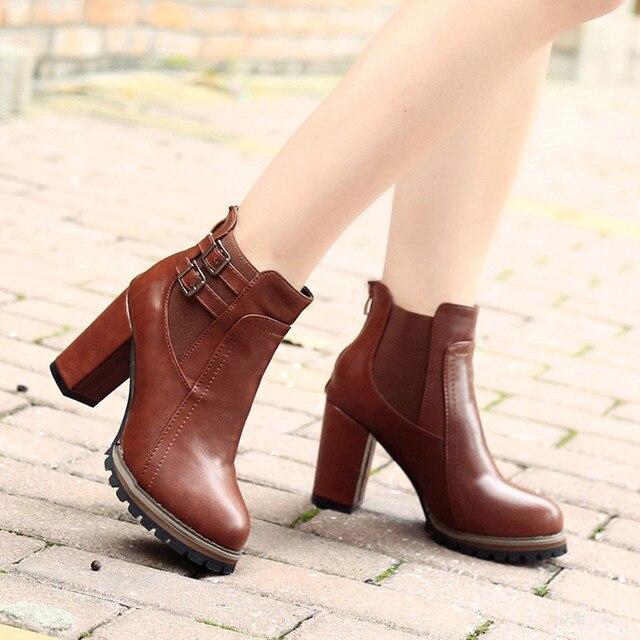Caricamenti del sistema della caviglia delle signore di Avvio Tacchi Alti Alla Caviglia Stivali Piattaforma di Scarpe Da Donna Scarpe Autunno Inverno # NFA