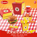 Onshine Wooden Kitchen Food Toys For Children 26pcs Accessories Burger Set Food Game Pretend Play Set Toys Gifts