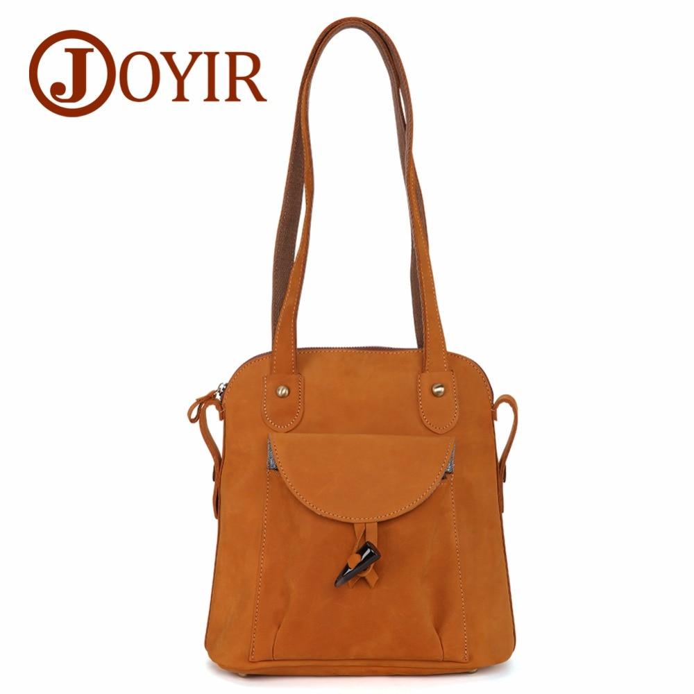 JOYIR 패션 정품 가죽 여성 가방 빈티지 갈색 학교 소녀 어깨 가방 가방 숙녀 쇼핑 여행 가방 3011