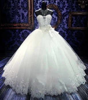 Beautiful Crystal Beading Ball Gown Arab Wedding Dress 2019 robe de mariee Bride Dress Tulle Wedding Gown WX0080 - DISCOUNT ITEM  33% OFF All Category