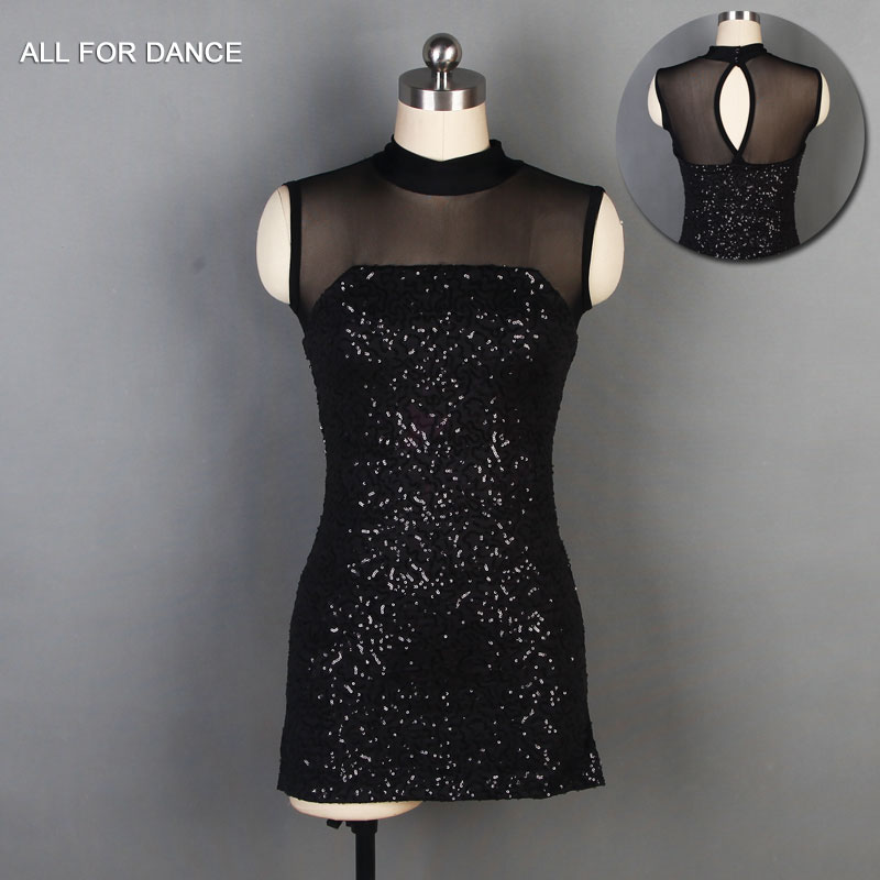 Black Sequin Mesh Bodice Bikeshort dance costumes Lyrical & contemporary dance costumes ballet dress image