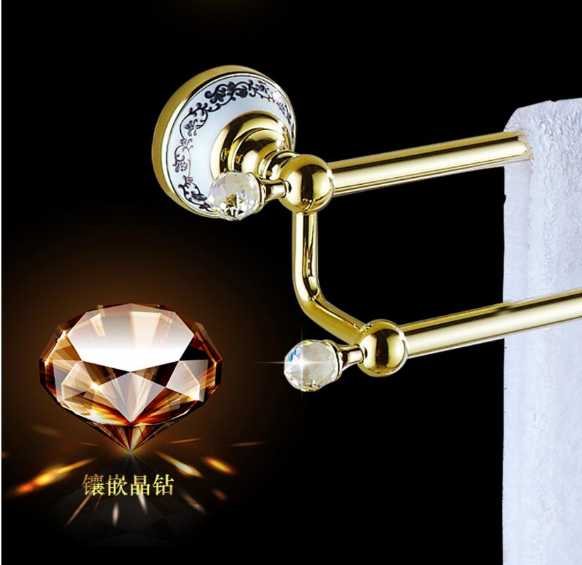 European Style Golden Crystal Solid Brass Towel Rail High Quality Single Towel Bar Bathroom Towel Holder Bathroom Accessories