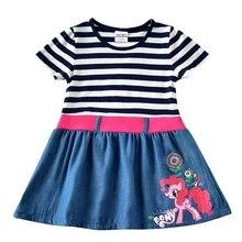 купить Girls Baby Short Sleeve Cartoon Dress Summer New Kids Wearing Denim Belt Dress Round Neck Embroidered Short Sleeve Dress H7123 дешево