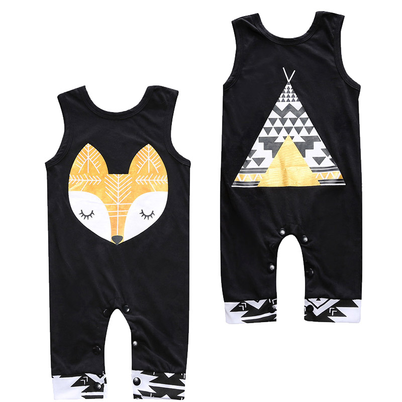 Unisex Newborn Romper Cute Fox Print Sleeveless Baby Jumpsuits Summer Fashion Baby Boy Rompers Toddler Girls Clothes