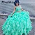 Dois Vestidos Pedaço Quinceanera Verde Menta 2016 Cristal Vestidos De 15 Años Princesa Masquerade Bola Vestidos de Aniversário Vestido de Baile