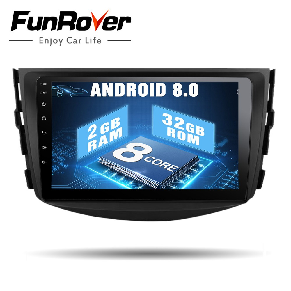 Funrover 8 noyaux Android 8.0 Voiture dvd multimédia Pour Toyota Rav4 2007 2008 2009 2010 2011 IPS Radio Magnétophone stéréo Gps navi