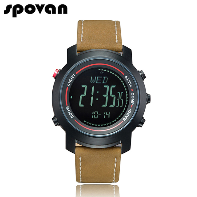 SPOVAN Men's Watch with Genuine Leather Band, Sport Watches Wristwatch Compass/Pacer/Waterproof/LED Backlight MG01