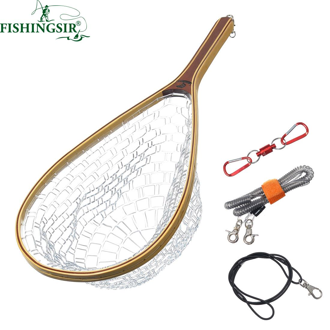 FishingSir Fly Fishing Net Mesh Soft Rubber Landing Net Magnetic Release Holder Basket Pesca Combo Kit Trout Ice FishingTools