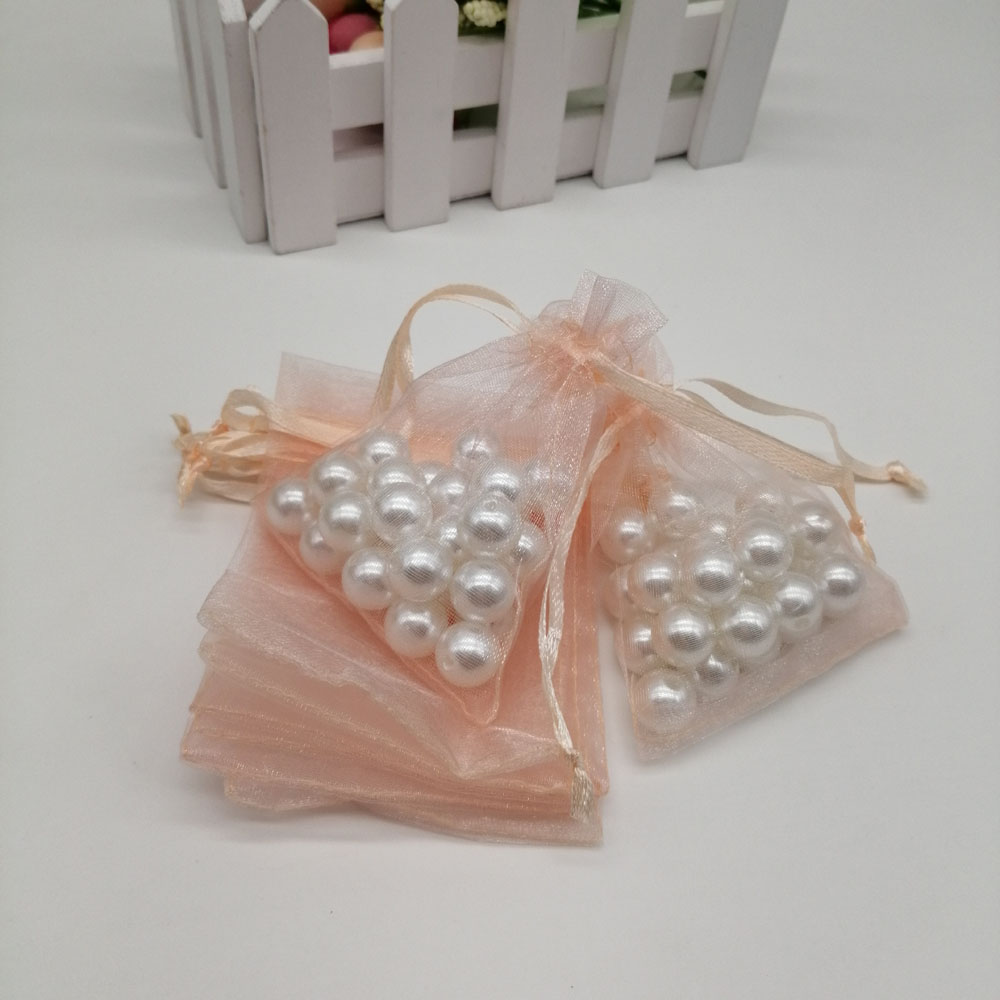 100pcs Organza Bags Champagne Organza Gift Bags For Jewelry Packaging Display Christmas Wedding Jewelry Storage Drawstring Bag
