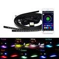 4PCS RGB LED Waterproof Under Car Underglow Atmosphere Lamp Colorful RGB LED Strip Decorative Lamp + Wireless Remote