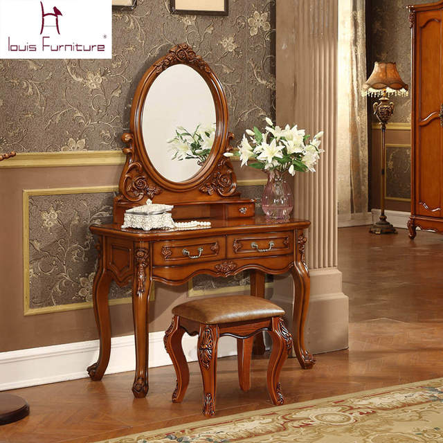 US $799.0 |Ancient European style dresser American country wood bedroom  furniture makeup table dressing table-in Dressers from Furniture on  AliExpress