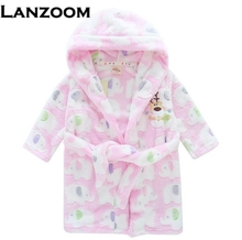 Kiqoo 2017 Fashion 2-16y Baby Robe One Piece Hooded Cute Cartoon Elk Boys and Girl's Sleepwear Bathrobes Kids Pajamas