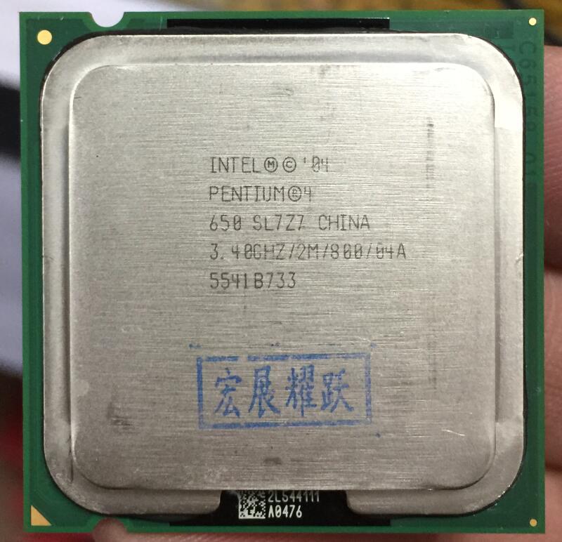 Intel Pentium 4 650 P4 650 3.4 3.4 hz 2 m 800 Dual-Core מעבד LGA 775 100% עבודה כראוי שולחן עבודה מעבד P4 650 מעבד