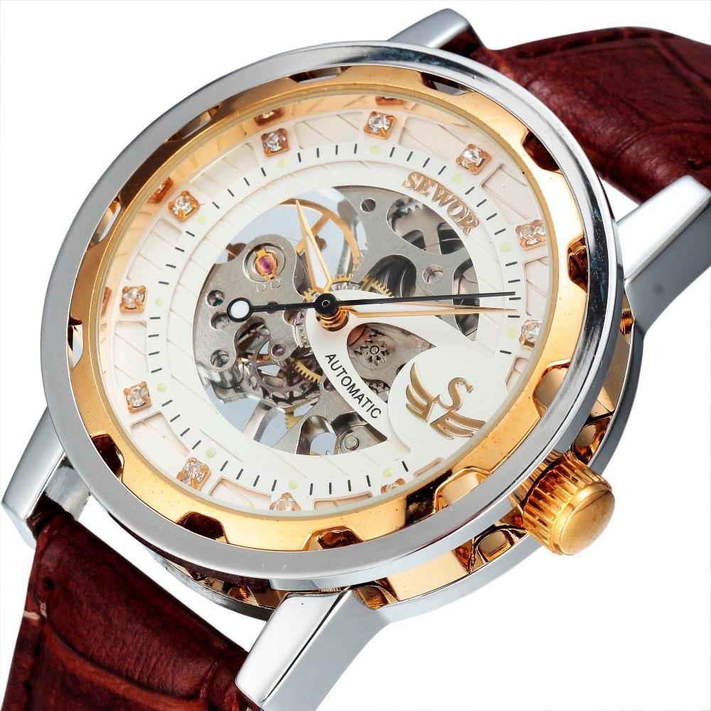 ФОТО Watch Men Relogio Masculino SEWOR Business Fashion Skeleton Clock Mechanical Hand Wind Military Wristwatch Luxury Watch SWQ13