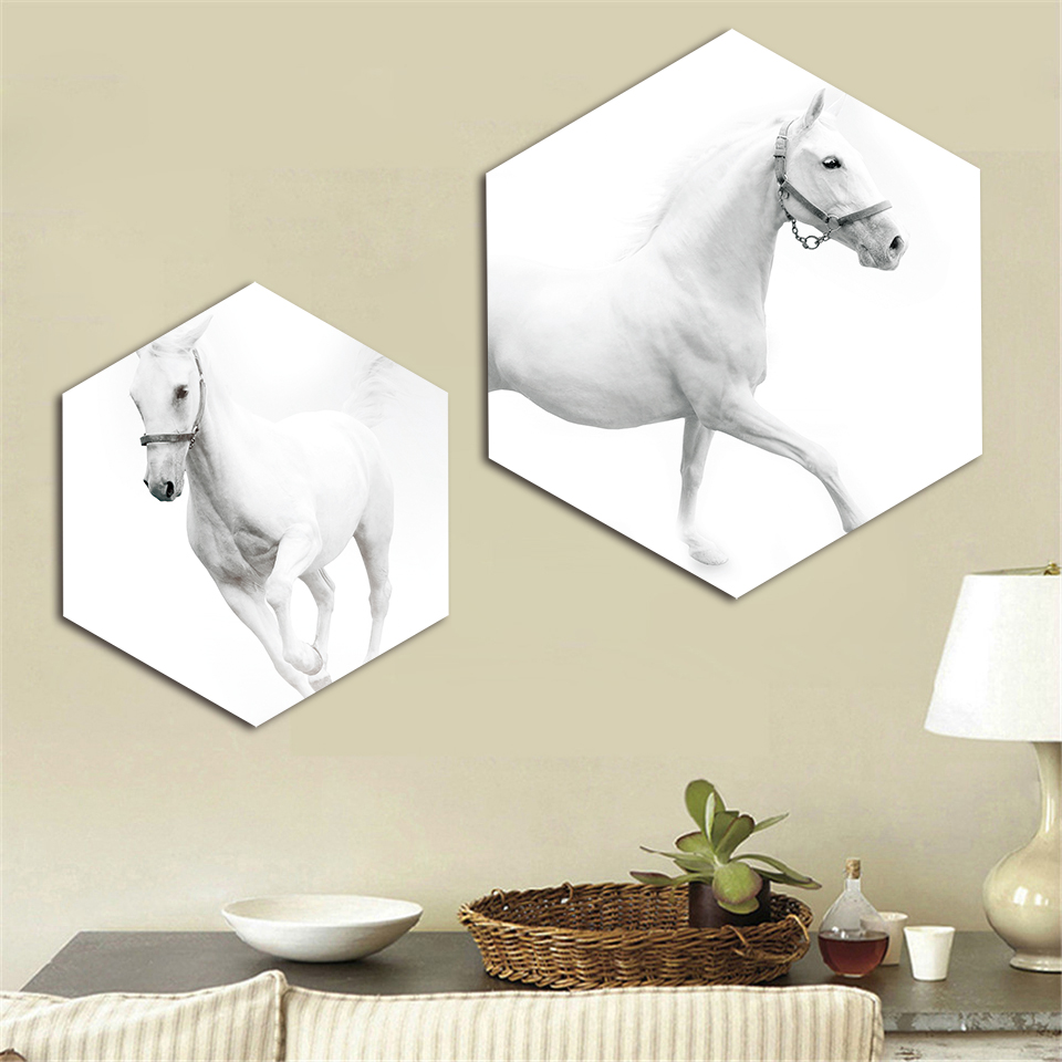 Hot Sale Modular Prints Pictures Home Decor Nordic Hexagon White Horse Paintings Office Canvas Poster Wall Art Modern Frame