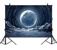 5x7ft Cosmic Planet Snow Mountain Building Camera Party Polyester Photo Background Portrait Backdrop