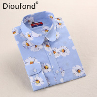 Dioufond White Red Floral Women Blouses 2017 Summer Long Sleeve Cotton Blouse Shirt Women Tops 5XL