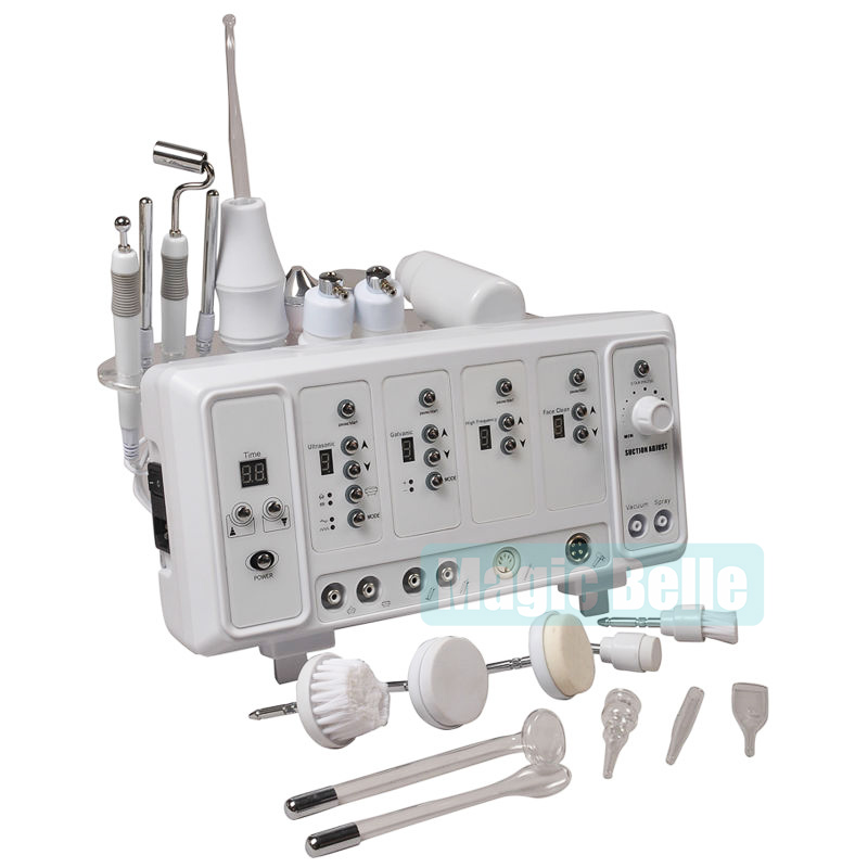 Nouveau comming! Haute Fréquence/Ultrasons/Pulvérisation/Vide/Galvanique/Brosse 6 dans 1 Portable multifonction visage machine