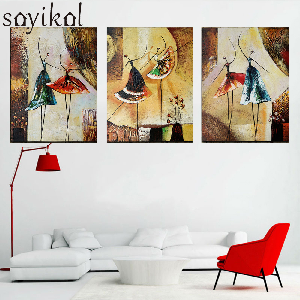Handmade Oil Painting 3 Piece Wall Art Abstract Ballet Dancer Hand Painted Oil Painting On Canvas Picture For Living Room Decor|Painting & Calligraphy| |  - title=