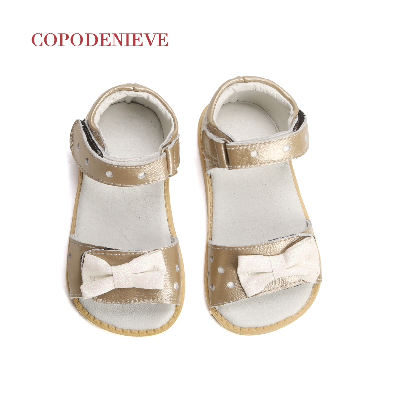 COPODENIEVE Summer Style Children Princess Beautiful Flower Shoes Kids Flat Sandals Baby Girl Clothes Roman Elsa Genuine Leathe
