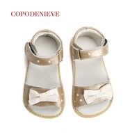 COPODENIEVE Summer Style Children Princess Beautiful Flower Shoes Kids Flat Sandals Baby Girl Clothes Roman Elsa Genuine Leathe