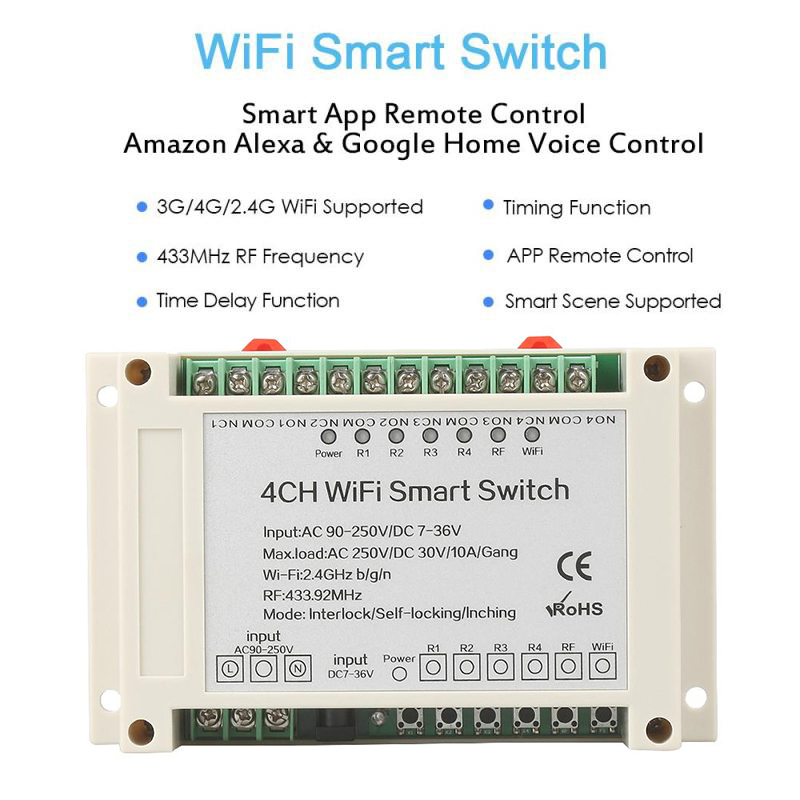 WiFi Smart Switch 433MHz RF Smart Home Automation Module on/off Wireless APP Multiple Remote Control Timing Function Switches itead sonoff wireless wifi smart switch app control home automation module timer smart switch new