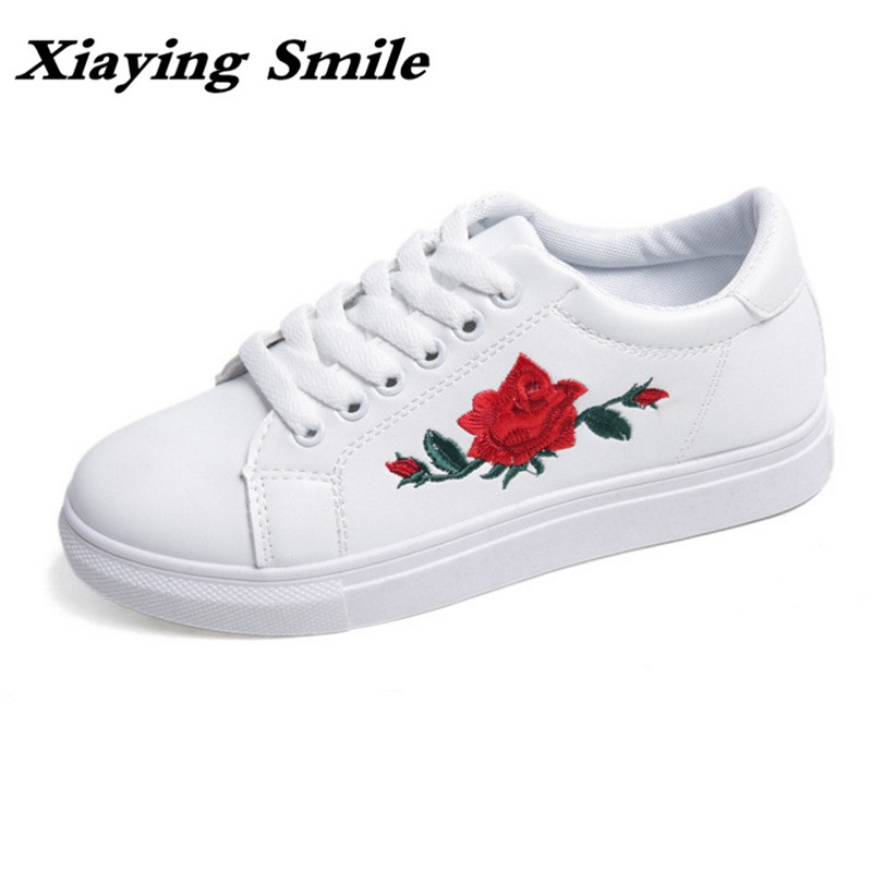 Xiaying Smile Woman Sneakers Shoes Women Flats Spring Summer Thick Sole Embroider Rose Lace Up Black White Student Women Shoes xiaying smile woman flats women brogue shoes loafers spring summer casual slip on round toe rubber new black white women shoes