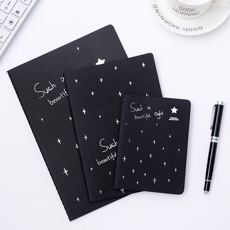 Creative Notebook Black Inner Page Diary Stitching Binding Sketch Book Painting Drawing For Kids Girls Korean Style Gifts