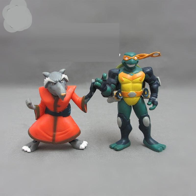 Teenage Mutant Ninja Turtles Leonardo and high bulk rat teacher doll model about 5-7CM 2PCS/SET