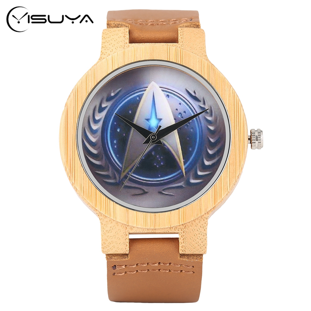 YISUYA Star Trek Bamboo Wood Wrist Watch Men Handmade Nature Wooden Watches Genuine Leather Band Creative Watches Christmas Xmas yisuya inverted triangle bamboo wood wrist watch men top brand genuine leather band strap quartz creative watches wooden clock