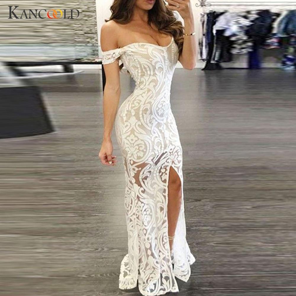 KANCOOLD Dress Women Sexy Slash Neck Maxi Dress A-line Floor Fork Length Party Prom Lace fashion new Dress women 2018DEC5
