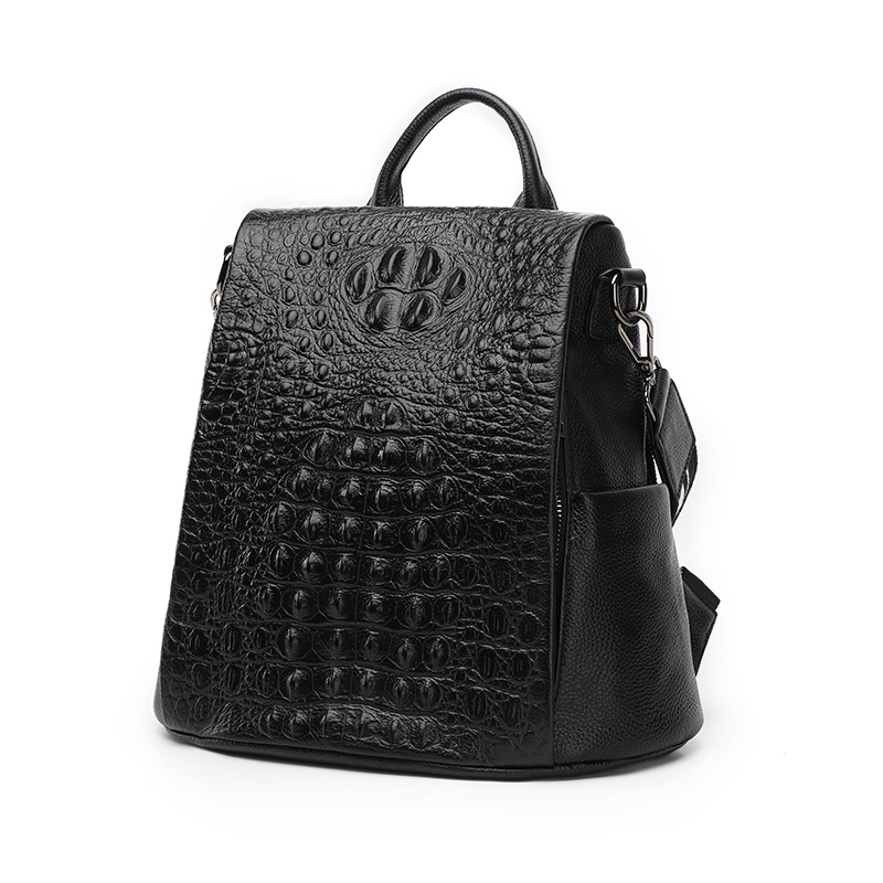 Real High end Crocodile Pattern Cowhide Leather Women Backpack Anti theft Design Teenager Girl School Bag All match Knapsack-in Backpacks from Luggage & Bags    1