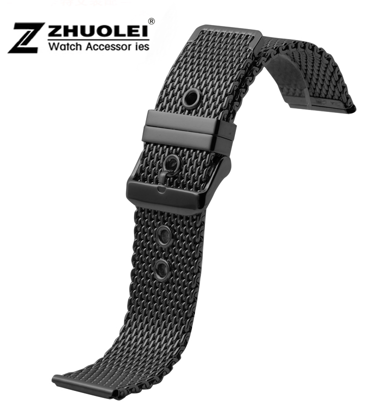 Watch band 18mm 20mm 22mm 24mm New Mens Black Watch Strap Shark Mesh Chain Stainless Steel Band Bracelet Men's watch new mens rose gold watch band 16mm 18mm 20mm 22mm 24mm silver black stainless steel watch band strap straight end bracelet