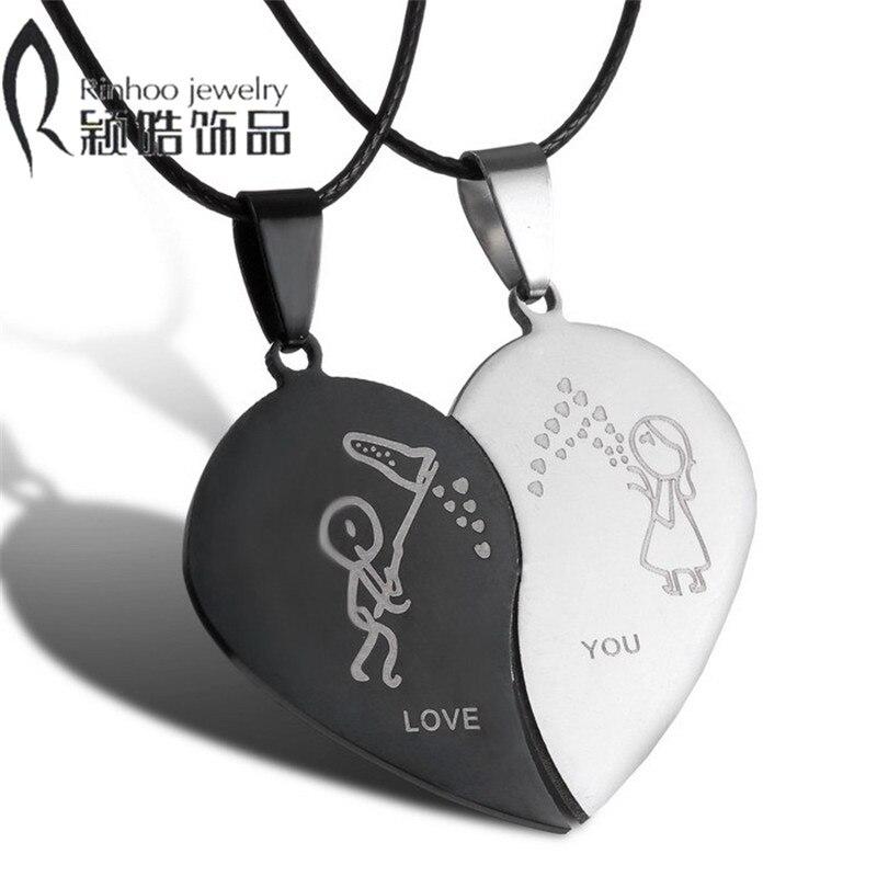 Paare Schmuck Gebrochen Herz Halsketten Schwarz Paar Halskette Edelstahl Gravieren Liebe Sie Anhänger Halskette Valentinstag