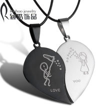 Couples Jewelry Broken Heart Necklaces Black Couple Necklace Stainless Steel Engrave Love You Pendants Necklace Valentine's Day(China)