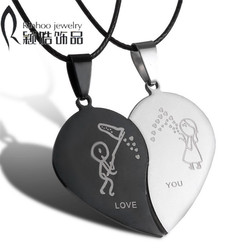 Couples Jewelry Broken Heart Necklaces Black Couple Necklace Stainless Steel Engrave Love You Pendants Necklace Valentine's Day