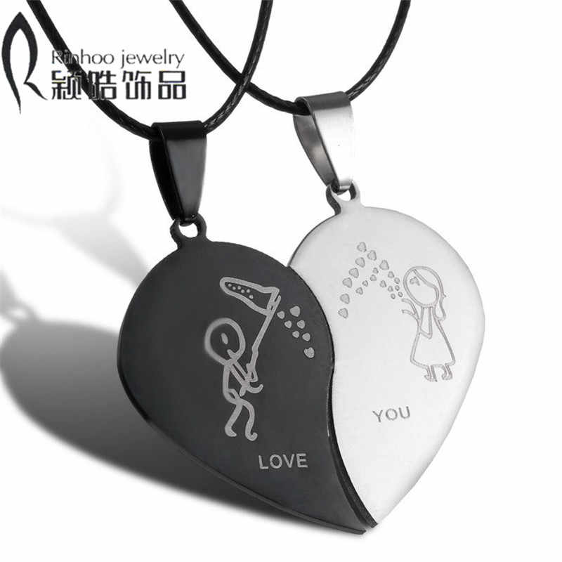 15b2ba9b75 Couples Jewelry Broken Heart Necklaces Black Couple Necklace Stainless Steel  Engrave Love You Pendants Necklace Valentine's