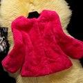 Осень зима 2017 три четверти рукав тонкий короткий природный рекс кролика шуба верхняя одежда кролик женщин меховая куртка бесплатная доставка