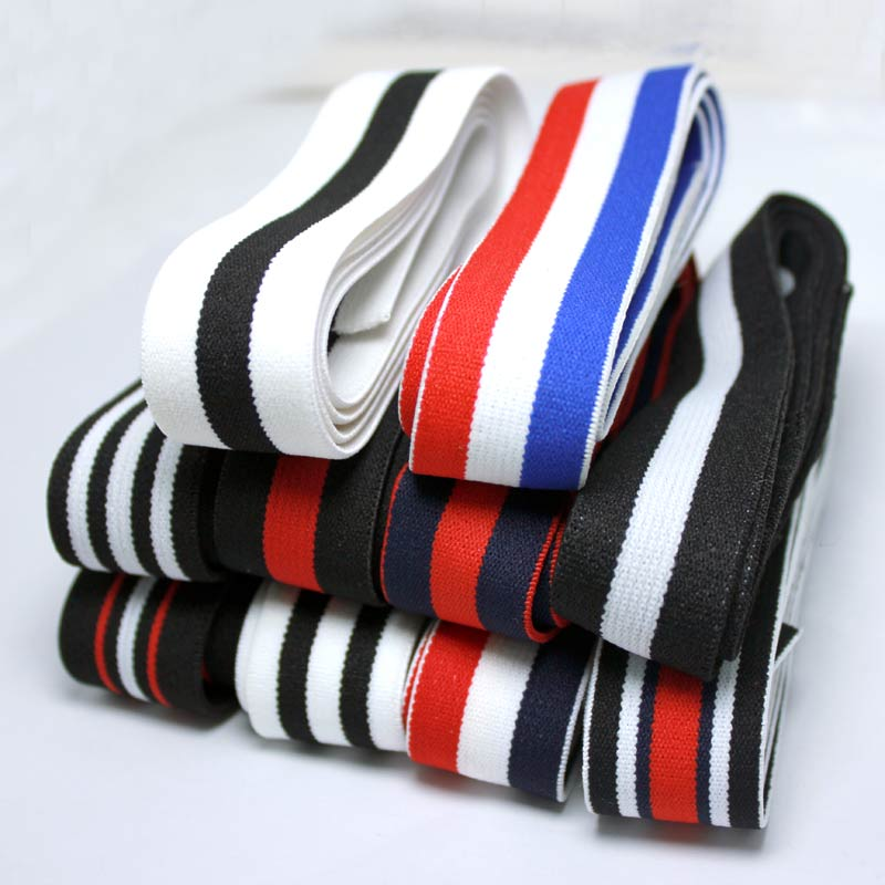 Popular  2.5CM High Quality Durable Pants Skirt Beltlot Colorful Hot Stamping Elastic Bands DIY Webbing Apparel   Accessories