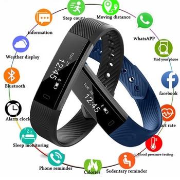 f3ec8cfa6 Inteligente para las mujeres de los hombres Fitness Tracker inteligente pulsera  podómetro Bluetooth Smartband impermeable Monitor de sueño pulseras PK ...