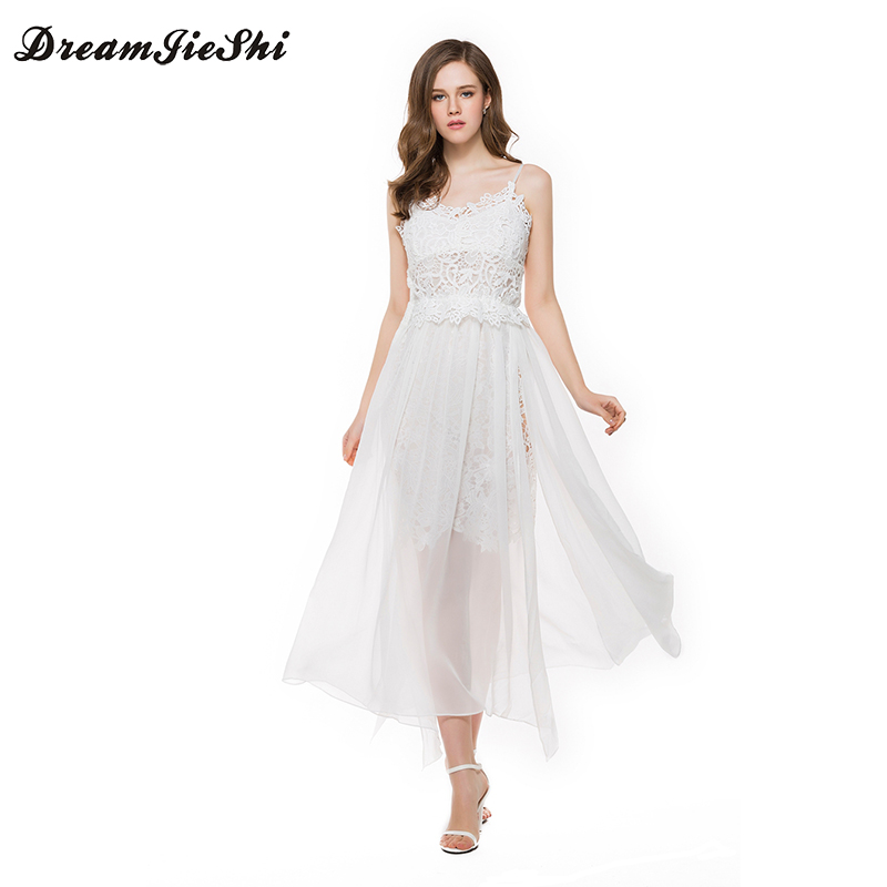 Dreamjieshi Girl Chiffon White Color High Waist Embroidery Lace Women Dress Backless Split Spaghetti Strap Hollow