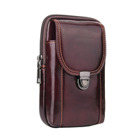 Universal Men's Waist Bags Genuine Leather Mobile Phone Bags Casual Waist Fanny Packs Pouch Belt Bag Brown Holster