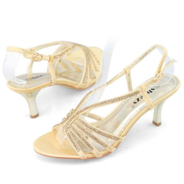 b9b0043e467 SHOEZY brand new low heel wedding shoes women gold sexy kitten heels  rhinestone strappy sandal slingback party prom bridal shoes